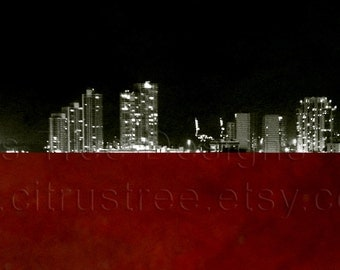 PAINT the TOWN RED- Cityscape - Original Photomontage Fine Art Print - Mixed Media Landscape -Signed and Dated --Buy 2 Get 1 Free--