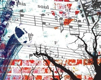 Sheet music, photomontage, musician's gift vintage SOUL MUSIC - Original Digital Collage Print - Signed and Dated