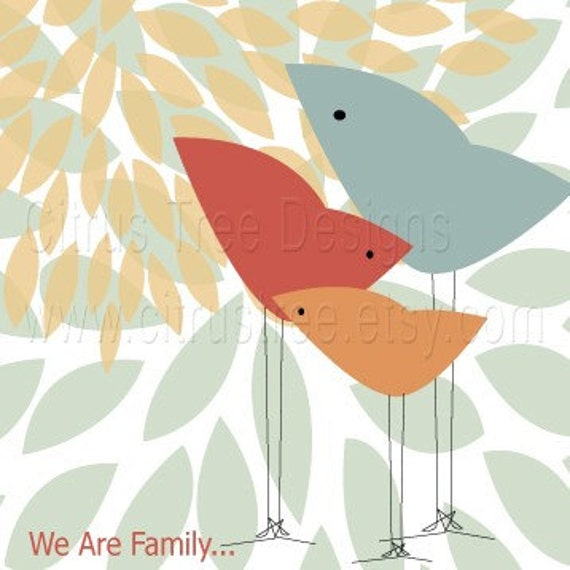 We Are Family -  13 x 19 - Original Illustration Fine Art Print - Birds, Family, Love, Baby, Mother, Father, Child - BUY 2 GET 1