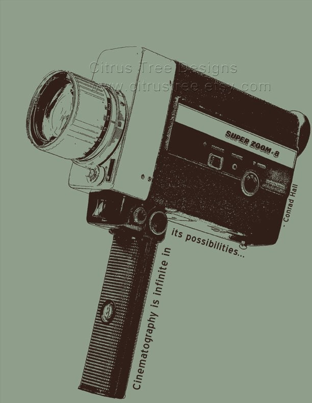 vintage super 8 camera w quote original illustration fine art. Black Bedroom Furniture Sets. Home Design Ideas