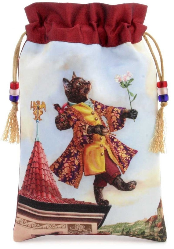 The Happy Fool. Satin and pure silk drawstring bag or tarot pouch. From the Baroque Bohemian Cats Tarot. Wine-red silk.