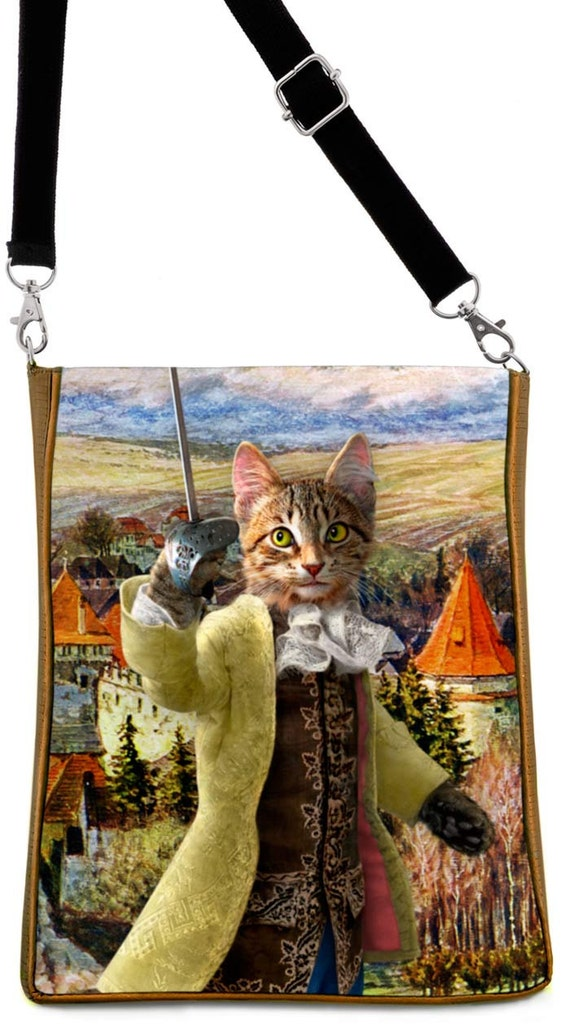 Printed LARGE shoulder bag purse with 'The Brave Tabby ' Bohemian Cats print with gold silk mix.