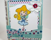 Handmade greeting card fairy image and glitter paper