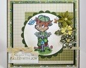 Large square handmade greeting card spring summer boy any occasion