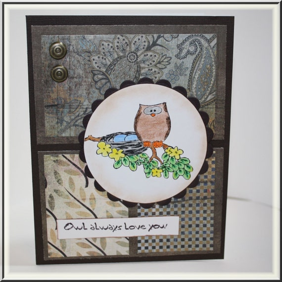 Owl always love you handmade greeting card by SouthernScraps