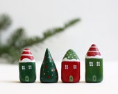 Christmas clay houses - Little winter village with 3 houses with stripes and dots