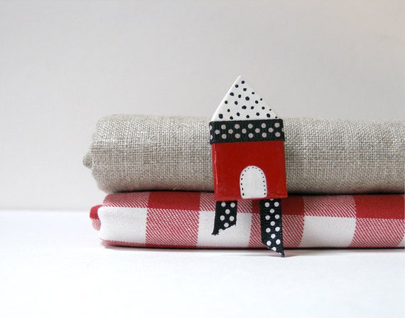 Wearable Red House with Polka Dots