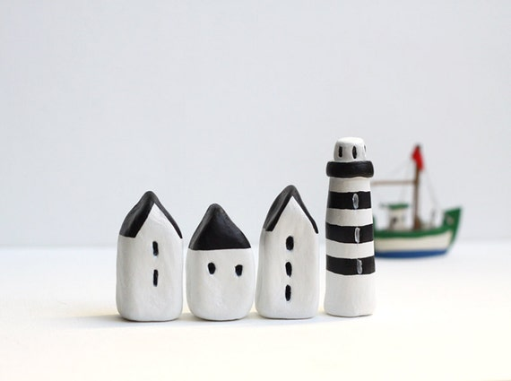 Little Village with Three Houses and a Striped Lighthouse - Black and White