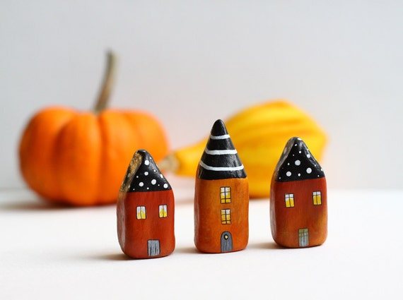 Little Clay Houses with  White Polka Dots and Stripes