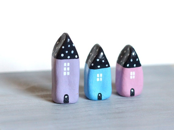 SALE - Little Village with 3 Little Clay Houses - Lilac, Blue and Pink with black roof with dots