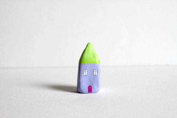 Little Home No 168 - Green and purple little clay house