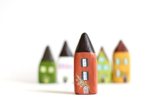 Little Home No 187 - Brown and terracotta with flowers little clay house