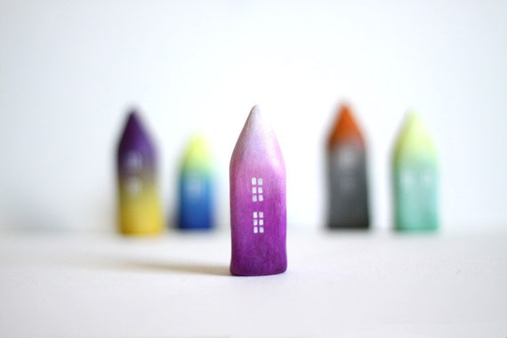RESERVED LISTING - Little Home No 194 - Ombré little clay house - Purple and white