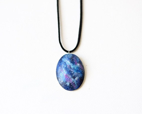 Nebula necklace  - hand painted pendant with a faux suede cord