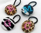 Monogrammed Ponytail Holder or Tap Shoe Ties - Animal Print Ribbon - Leopard and Zebra