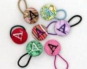 Set of 2 Monogrammed Pony O, PonyTail Holder, Tap Dance Shoe Tie   You choose the color