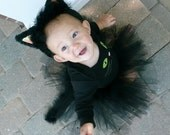 Custom Made Black Cat Tutu Skirt with Ears and Tail Costume
