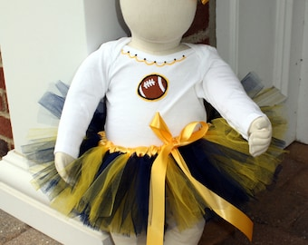 Custom Made Football Fan Satin-wrapped Tutu Set with Onesie and bow 0-24 months