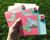 Set of three Hoot Hoot Owl Cards - Reserved for mrsdorris