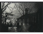 Church Graveyard  ACEO -- POSTAGE INCLUDED IN PRICE