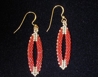 EARRINGS - Peyote stitch structural double pointed ovals