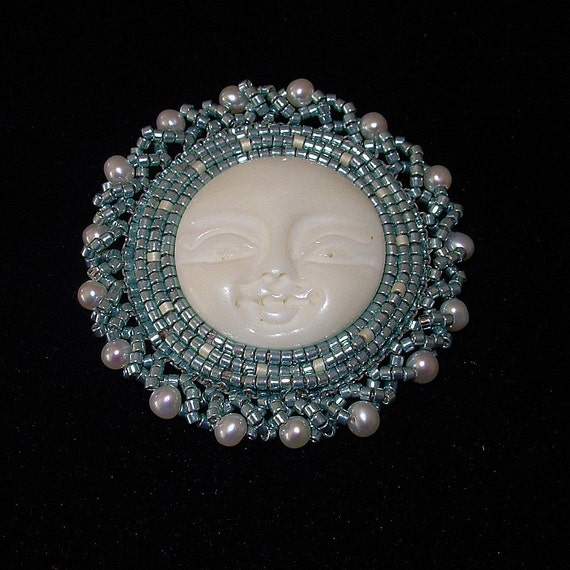 Beaded brooch and pendant - 'Sea Goddess' bead embroidered, hand carved cabochon