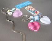 Striped Hearts & Pastel Stars Key chain Bookmark Set