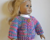 American Girl Doll Clothes Bulky Cardigan Sweater Jacket with Pockets - Blue and Pink