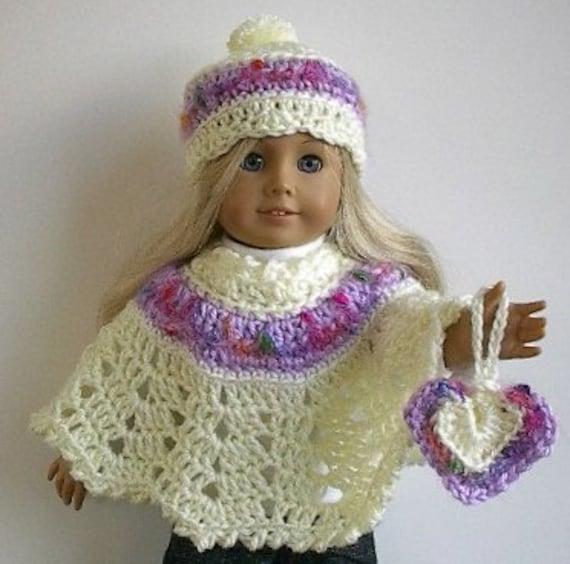 Crochet Amigurumi Pattern Hello Kitty Strawberry Hoolaloop : American Girl Doll Clothes: Crocheted Cream Poncho by ...