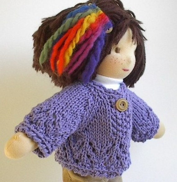 Waldorf Doll Clothes - Handknit Cotton Cardigan Sweater - Purple