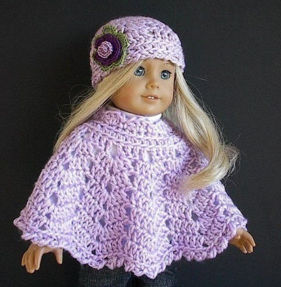 American Girl Doll Clothes Crocheted Poncho Set in Lavender with Flowered Hat