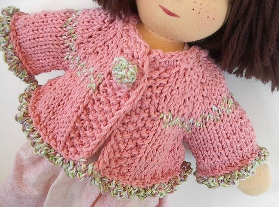 Waldorf Doll Clothes: Handknit Rosy Pink Cotton Cardigan Sweater with Ruffled Edges - Made to Order