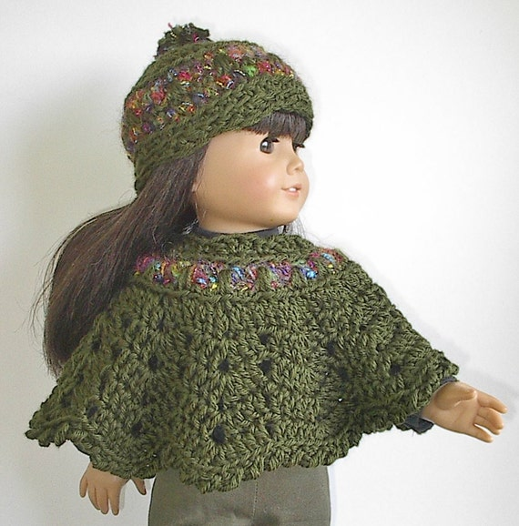 Crochet Amigurumi Pattern Hello Kitty Strawberry Hoolaloop : American Girl Doll Clothes Crocheted Poncho Set by ...
