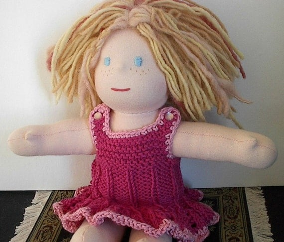 Waldorf Doll Clothes Hand Knit Dress in Fuschia Pink fits10 to 12 Inch Waldorf Doll