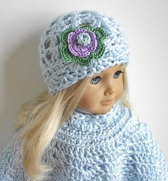 American Girl Doll Clothes: Crocheted Blue Poncho Set with Flowered Hat