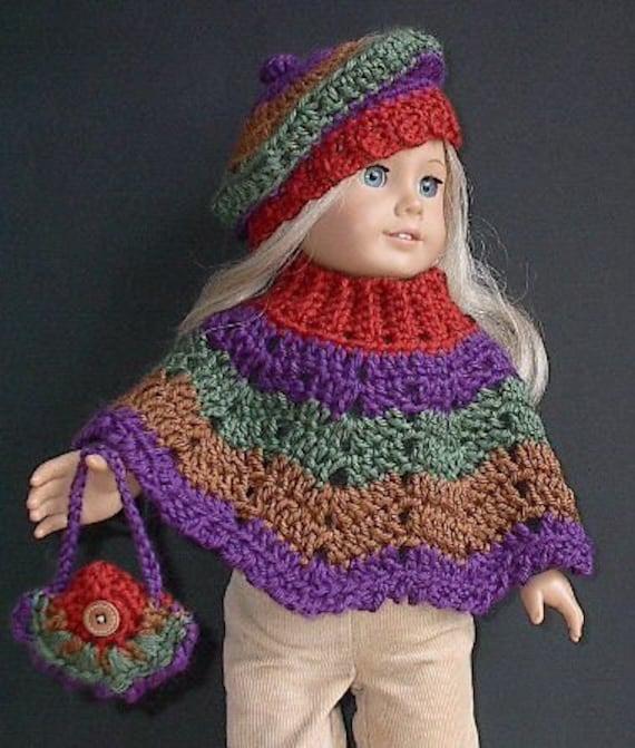 Crochet Amigurumi Pattern Hello Kitty Strawberry Hoolaloop : American Girl Doll Clothes Poncho Set Crocheted by ...