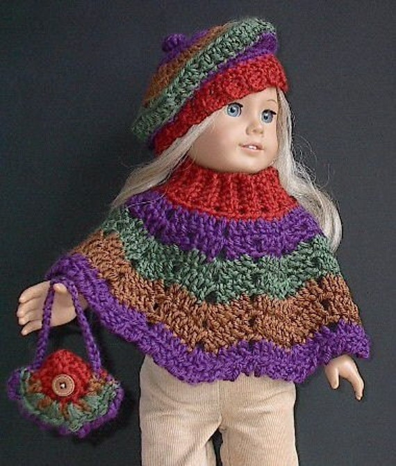 American Girl Doll Clothes -  Poncho Set - Crocheted - Autumn Harvest Colors