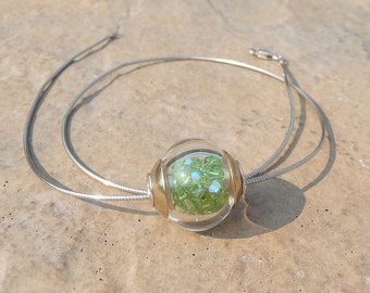 MINI snow globes hollow silvered cored - handmade lampwork beads   SRA, ISGB
