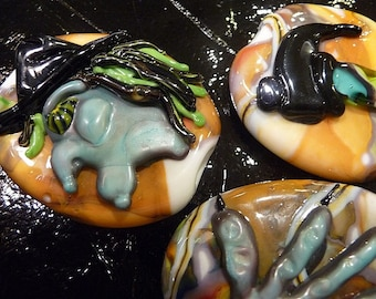 Scary Witch Handmade Lampwork Glass Bead set Halloween Large focal beads Bewitched Oval Multi color Artisan bead Generationslampwork SRA