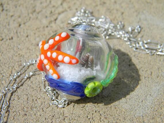 Handmade Lampwork Glass Bead - large hollow OCEAN snow globe