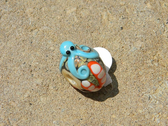 Handmade Lampwork Glass Bead -Sealife Focal Large Hole Star Fish and Octopus - SRA B54