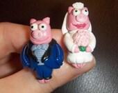 Simpsons Bride and Groom Pig Cufflinks Lisa's Wedding Episode polymer clay