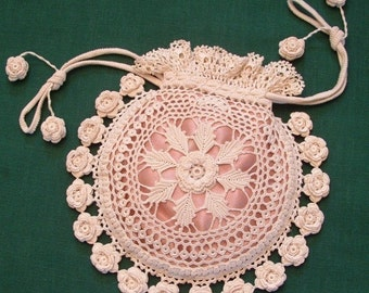 Rings and Roses Irish Crochet Purse Pattern PDF Download