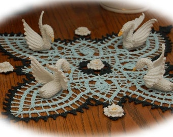 Pineapple and Swans Doily Crochet Pattern
