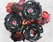 3 Handmade black and white sew on fabric flower appliques