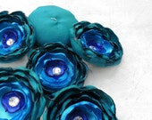 Handmade wedding fabric flower appliques - 6 teal, turquoise and royal blue sew on flowers