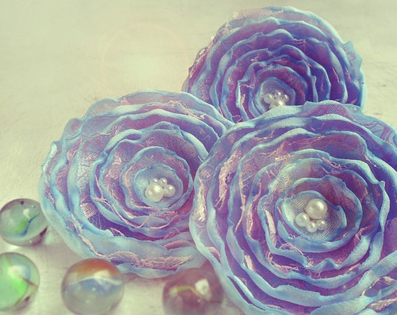 3 Big handmade light blue and light pink fabric flowers