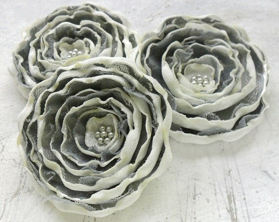 3 Handmade cream and grey sew on fabric flower appliques