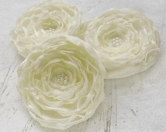 Handmade wedding fabric flower appliques - 3 cream sew on flowers