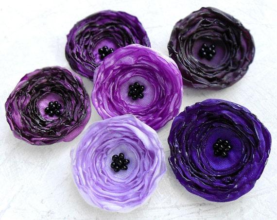 6 Small handmade purple fabric flowers